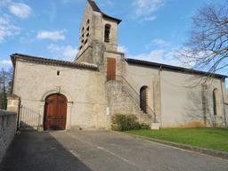 Façade sud de l'église de Pujols-sur-Ciron. Source : http://data.abuledu.org/URI/58dae271-facade-sud-de-l-eglise-de-pujols-sur-ciron
