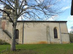 Façade sud l'église de Pujols-sur-Ciron. Source : http://data.abuledu.org/URI/58dae42e-facade-sud-l-eglise-de-pujols-sur-ciron