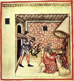 Faire du feu dans la cheminée en hiver au Moyen Age. Source : http://data.abuledu.org/URI/50c90746-faire-du-feu-dans-la-cheminee-en-hiver-au-moyen-age