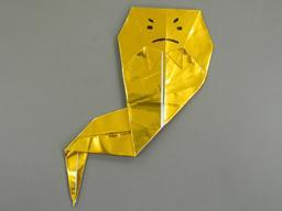 Fantôme doré en origami. Source : http://data.abuledu.org/URI/52f26152-fantome-dore-en-origami