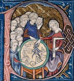 Femme enseignant la géométrie au Moyen Âge. Source : http://data.abuledu.org/URI/56f99989-femme-enseignant-la-geometrie-au-moyen-age