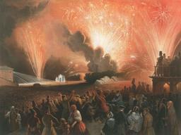 Feu d'artifice en 1856. Source : http://data.abuledu.org/URI/53872814-feu-d-artifice-en-1856