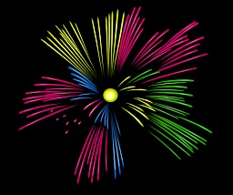 Feu d'artifice multicolore. Source : http://data.abuledu.org/URI/504ba2c6-feu-d-artifice-multicolore