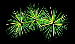 Feu d'artifice vert et jaune. Source : http://data.abuledu.org/URI/504ba178-feu-d-artifice-vert-et-jaune