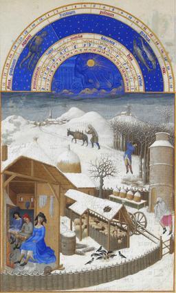 Février dans les Très Riches Heures du Duc de Berry. Source : http://data.abuledu.org/URI/531c4cef-fevrier-dans-les-tres-riches-heures-du-duc-de-berry