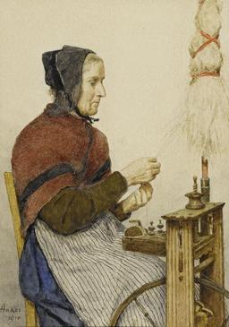 Filage de la laine. Source : http://data.abuledu.org/URI/519f6c4d-filage-de-la-laine