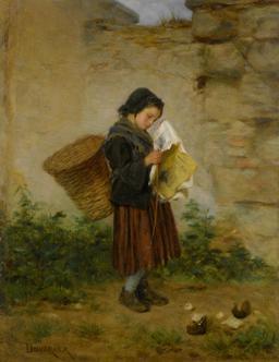Fillette avec panier à dos lisant le journal. Source : http://data.abuledu.org/URI/52742d03-fillette-avec-panier-a-dos-lisant-le-journal