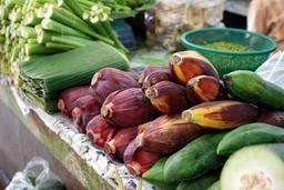 Fleurs et feuilles de bananiers au marché. Source : http://data.abuledu.org/URI/531509b4-fleurs-et-feuilles-de-bananiers-au-marche