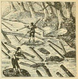 Flottage des bois. Source : http://data.abuledu.org/URI/524d9772-flottage-des-bois