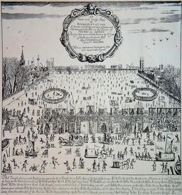Foire sur la Tamise gelée à Londres en 1683. Source : http://data.abuledu.org/URI/50febd0d-foire-sur-la-tamise-gelee-a-londres-en-1683