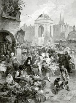 Fontaine des Innocents en 1878. Source : http://data.abuledu.org/URI/5870430d-fontaine-des-innocents-en-1878