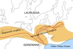 Formation de la chaîne hercynienne. Source : http://data.abuledu.org/URI/50a2b6ae-formation-de-la-chaine-hercynienne