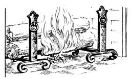 Foyer de cheminée avec deux chenets. Source : http://data.abuledu.org/URI/53eb99c3-foyer-de-cheminee-avec-deux-chenets