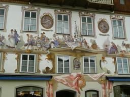 Fresque des musiciens bavarois en trompe-l'oeil. Source : http://data.abuledu.org/URI/5518654e-fresque-des-musiciens-bavarois-en-trompe-l-oeil