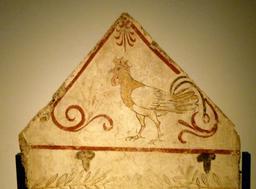 Fresque du coq de Paestum. Source : http://data.abuledu.org/URI/5388da9b-fresque-du-coq-de-paestum