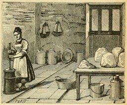 Laiterie familiale et fabrication du beurre. Source : http://data.abuledu.org/URI/524d56a9-g-bruno-le-tour-de-la-france-par-deux-enfants-p033-jpg