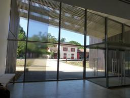 Gare de Sabres vue depuis le musée. Source : http://data.abuledu.org/URI/58284691-gare-de-sabres-vue-depuis-le-musee