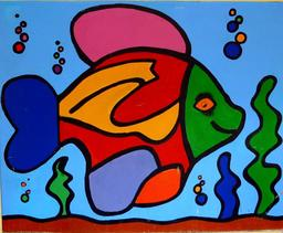 Graffiti de poisson multicolore. Source : http://data.abuledu.org/URI/537e4439-graffiti-de-poisson-multicolore