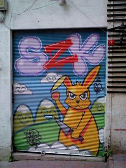 Graffiti du lapin meurtrier. Source : http://data.abuledu.org/URI/54133fec-graffiti-du-lapin-meurtrier