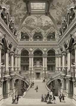 Grand Escalier d'Honneur du Palais Garnier en 1880. Source : http://data.abuledu.org/URI/59640420-grand-escalier-d-honneur-du-palais-garnier-en-1880