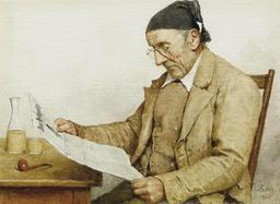 Grand-père lisant le journal. Source : http://data.abuledu.org/URI/519e92ea-grand-pere-lisant-le-journal