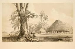 Grande place d'Apia en Polynésie en 1838. Source : http://data.abuledu.org/URI/5980afd2-grande-place-d-apia-en-polynesie-en-1838
