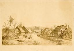 Grande rue de Merizo dans l'île de Gouam en 1838. Source : http://data.abuledu.org/URI/59810ac3-grande-rue-de-merizo-dans-l-ile-de-gouam-en-1838