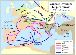 Grandes invasions dans l'Empire romain. Source : http://data.abuledu.org/URI/51d3ef7f-grandes-invasions-dans-l-empire-romain