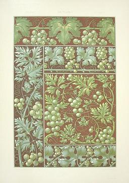 Grappes de raisin et feuilles de vigne. Source : http://data.abuledu.org/URI/50fa92e9-grappes-de-raisin-et-feuilles-de-vigne