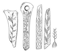 Gravures paléolithiques sur os. Source : http://data.abuledu.org/URI/591bab69-gravures-paleolithiques-sur-os