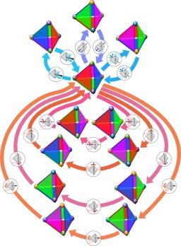 Groupe de symétrie du tétraèdre régulier. Source : http://data.abuledu.org/URI/50c484f8-groupe-de-symetrie-du-tetraedre-regulier