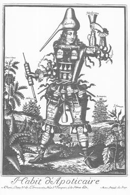 Habit d'apothicaire au 17ème siècle. Source : http://data.abuledu.org/URI/592b4c11-habit-d-apothicaire-au-17eme-siecle