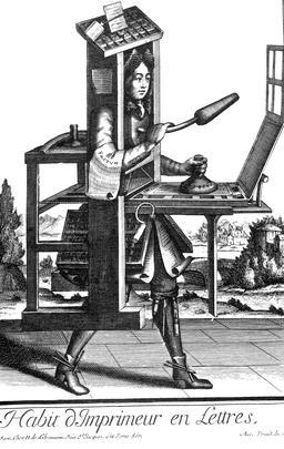 Habit d'imprimeur au 17ème siècle. Source : http://data.abuledu.org/URI/592b513e-habit-d-imprimeur-au-17eme-siecle