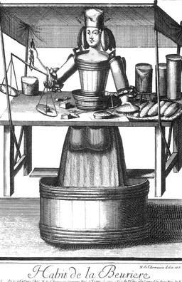 Habit de beurrière au 17ème siècle. Source : http://data.abuledu.org/URI/592b5445-habit-de-beurriere-au-17eme-siecle