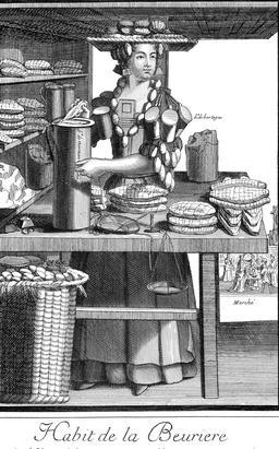 Habit de beurrière au 17ème siècle. Source : http://data.abuledu.org/URI/592b5515-habit-de-beurriere-au-17eme-siecle