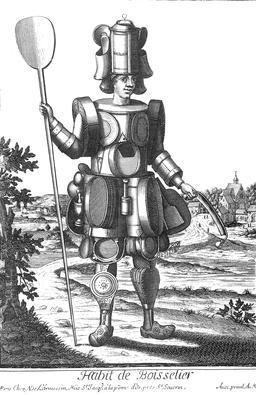 Habit de boisselier au 17ème siècle. Source : http://data.abuledu.org/URI/592b5ee7-habit-de-boisselier-au-17eme-siecle