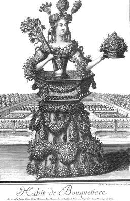 Habit de bouquetière au 17ème siècle. Source : http://data.abuledu.org/URI/592b858d-habit-de-bouquetiere-au-17eme-siecle