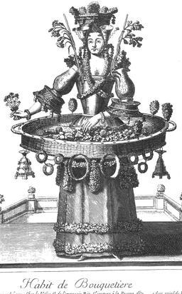 Habit de bouquetière au 17ème siècle. Source : http://data.abuledu.org/URI/592b861d-habit-de-bouquetiere-au-17eme-siecle