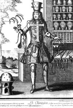 Habit de chirurgien au 17ème siècle. Source : http://data.abuledu.org/URI/592b96b3-habit-de-chirurgien-au-17eme-siecle