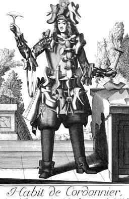 Habit de cordonnier au 17ème siècle. Source : http://data.abuledu.org/URI/592c2493-habit-de-cordonnier