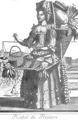 Habit de fruitière au 17ème siècle. Source : http://data.abuledu.org/URI/592c7a14-habit-de-fruitiere-au-17eme-siecle