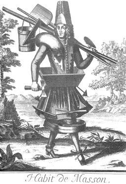 Habit de maçon au 17ème siècle. Source : http://data.abuledu.org/URI/592c8480-habit-de-macon-au-17eme-siecle