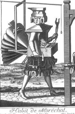 Habit de maréchal-ferrant au 17ème siècle. Source : http://data.abuledu.org/URI/592c81ba-habit-de-marechal-ferrant-au-17eme-siecle