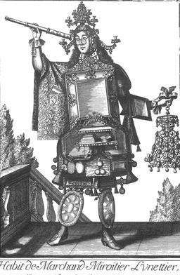Habit de miroitier-lunettier au 17ème siècle. Source : http://data.abuledu.org/URI/592c97e1-habit-de-miroitier-lunettier-au-17eme-siecle