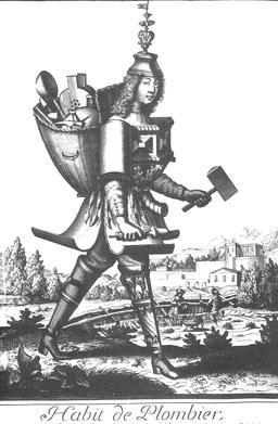 Habit de plombier au 17ème siècle. Source : http://data.abuledu.org/URI/593137b1-habit-de-plombier-au-17eme-siecle