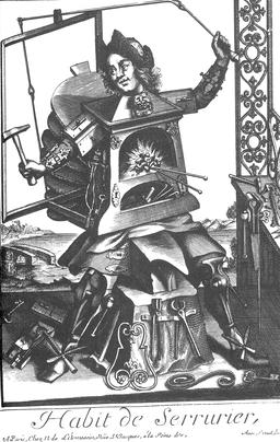 Habit de serrurier au 17ème siècle. Source : http://data.abuledu.org/URI/592a4d19-habit-de-serrurier-au-17eme-siecle