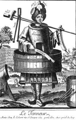 Habit de tanneur au 17ème siècle. Source : http://data.abuledu.org/URI/592a4a45-habit-de-tanneur-au-17eme-siecle