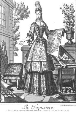Habit de tapissière au 17ème siècle. Source : http://data.abuledu.org/URI/592a48f1-habit-de-tapissiere-au-17eme-siecle