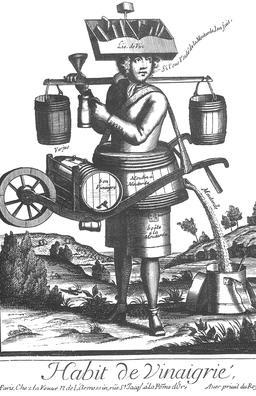 Habit de vinaigrier au 17ème siècle. Source : http://data.abuledu.org/URI/592a204a-habit-de-vinaigrier-au-17eme-siecle