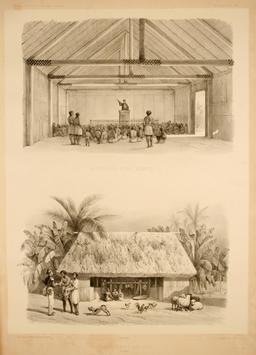 Habitation d'un chef en Polynésie en 1838. Source : http://data.abuledu.org/URI/5980a7ba-habitation-d-un-chef-en-polynesie-en-1838